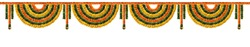 Orange and yellow Marigold Flower and green leaf garland decoration for indian festival, Indian festive decoration, toran
