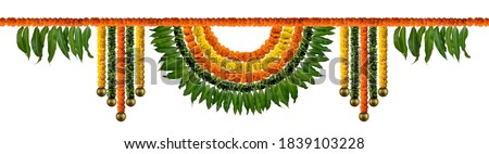 Orange and yellow Marigold Flower and mango leaf garland decoration for indian festival, Indian festive decoration, toran