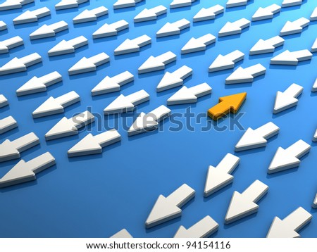 Orange arrow contrary to crowd. Concept of being different. - stock photo