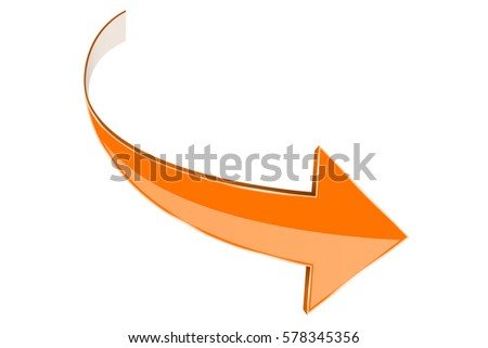 Orange arrow. Curved right sign. 3d illustration isolated on white background. Raster version