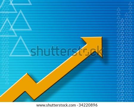 Orange arrow over blue dynamic background. Illustration