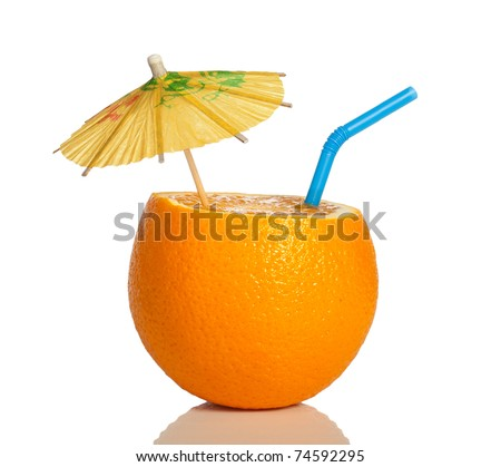 Orange as a drink with a straw and umbrella - stock photo
