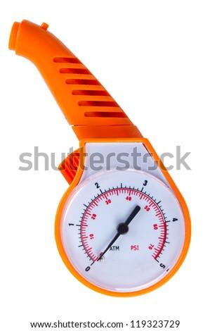 orange automobile manometer on a white background. - stock photo