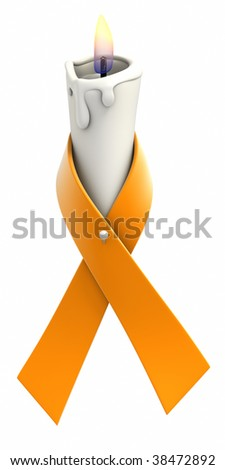Orange awareness ribbon wrapped around candle on white background. Clipping path included.