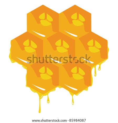 Orange background about honeycombs. - stock photo