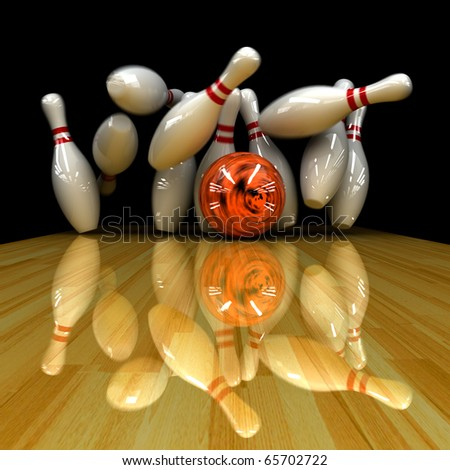 Orange ball does strike! Physically correct simulation of swirling strike in bowling with the real 3D motion blur on