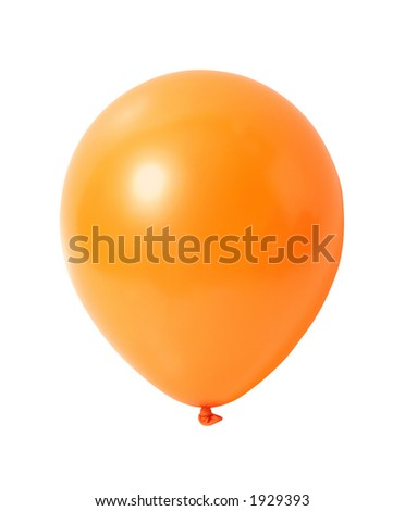 Orange balloon isolated on white with clipping path