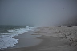 Orange Beach In Alabama On A Foggy Day