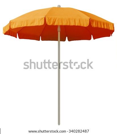 Orange beach umbrella isolated on white. Clipping path included. #340282487