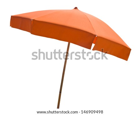 Orange beach umbrella isolated on white with clipping path #146909498