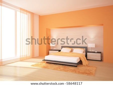 Bedroom on Orange Bedroom Stock Photo 58648117   Shutterstock
