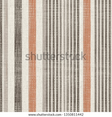 orange, beige, brown  colored modern retro vertical stripes on natural linen textures  background with  vintage effect . Lines Grunge Pattern for Linen, Fabric, Wallpaper. Trendy background