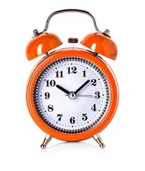 orange bell clock, alarm clock isolated on white background