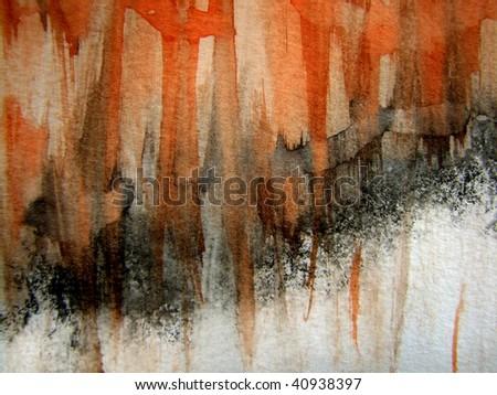 Orange, Black and White Watercolor Background 1