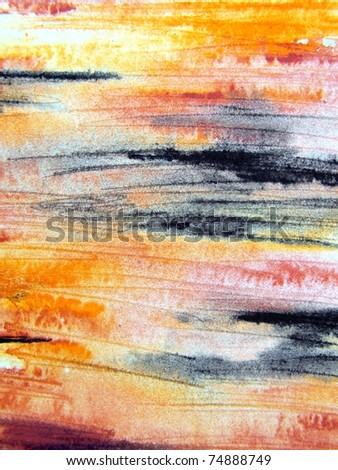 Orange Black & Yellow Watercolour 1