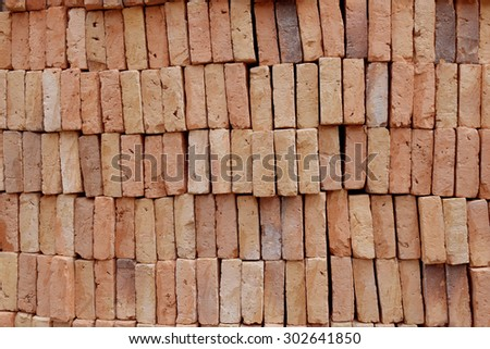 Orange Block brick by layer abstract background