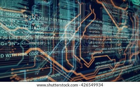 Orange, blue background with html code, 3D illustration/Server load html code #426549934