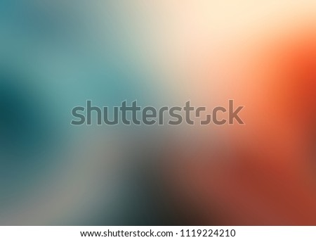 Orange blue blurred pattern on white background. Art empty template. Gleam abstract texture. Ombre pattern. Warm and cold gradient.