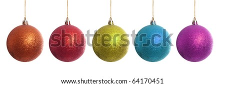 Orange, blue, red, green, blue, and purple christmas balls isolated on white
