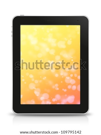 orange bokeh screen in tablet pc, isolated on background white