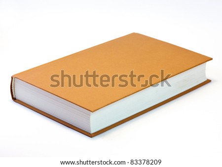 Orange book isolated on white . Clean cover