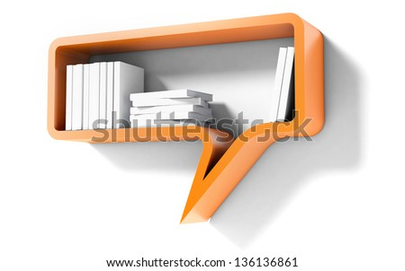 Orange Bookshelf in the Form of speech bubble Isolated on white Background