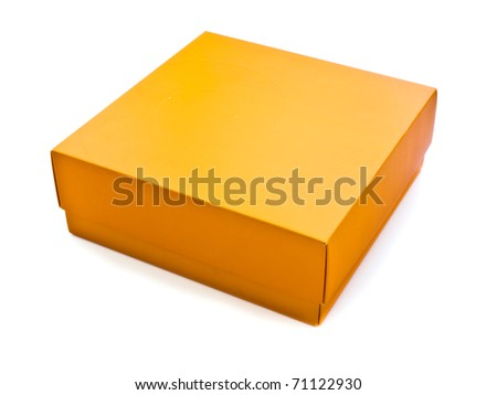 Orange box on white background - stock photo