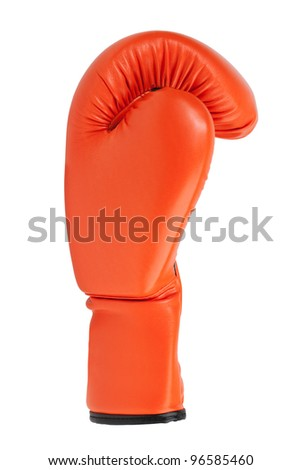 Orange boxing glove on a white background