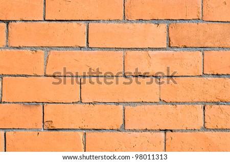 Orange brick wall background.
