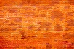 Orange brick wall background, brickwall texture aging effect. Grunge rusty brick wall as brickwork background texture. Rustic revival masonry red brick wall or brickwall texture, obsolete background