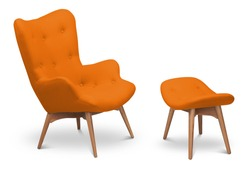 Orange bright color armchair and small chair for legs. Modern designer armchair on white background. Textile armchair and chair. Series of furniture