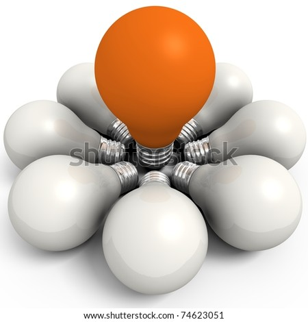 Orange bulb in a white group - computer render