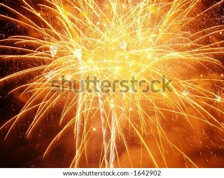 Orange Burst..Firework Display Nottingham Riverside Festival - stock photo