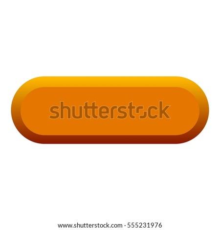 Orange button icon. Flat illustration of orange button  icon for web