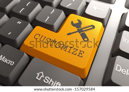 Orange Button with Customize on Black Computer Keyboard. Business Concept.