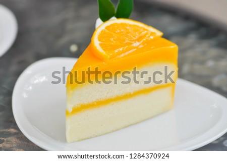 orange cake or cake, a piece of cake