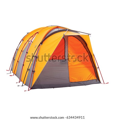 Orange Camping Tent Isolated on White Background. Dome Tent on Clipping Path. Camping Equipment #634434911