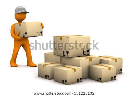 Orange cartoon characer with parcels. White background.