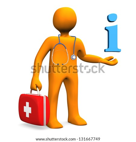 Orange cartoon character as doctor with symbol of information.