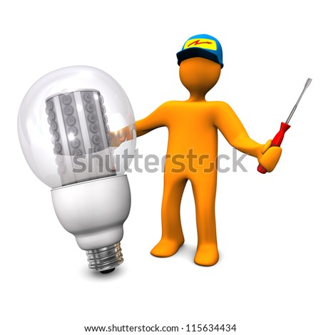 Orange cartoon character as electrician phones with LED lamp. White background.