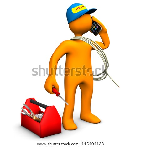 Orange cartoon character as electrician phones with smartphone. White background.