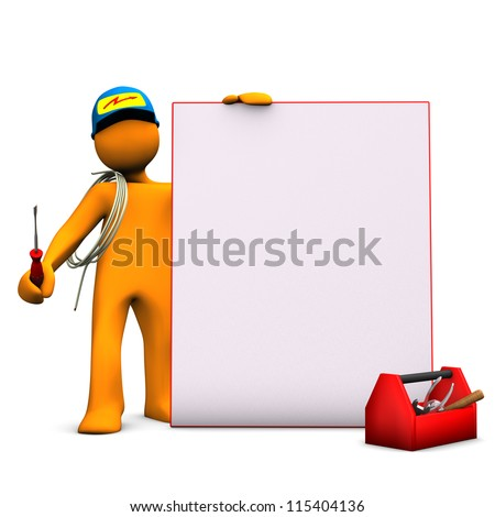 Orange cartoon character as electrician with signboard and cable. White background.