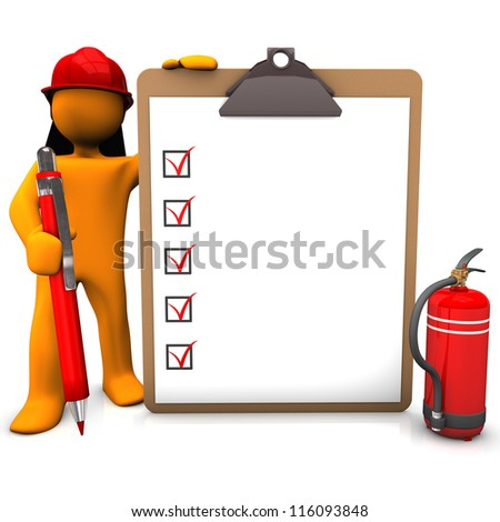 Orange cartoon character as fireman with red pen and clipboard.