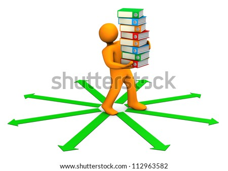 Orange cartoon character distributes folders on the white background with the green arrows.