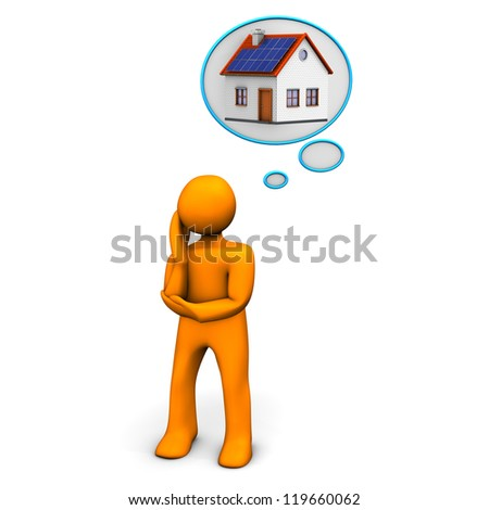 Orange cartoon character dreams about home.
