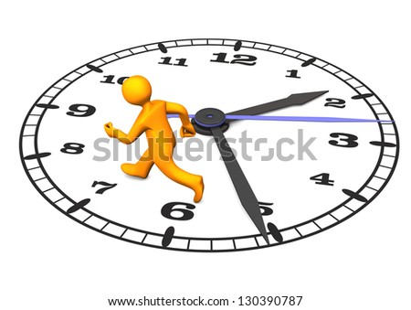 Orange cartoon character on the big clock. 3d illustration with white background.