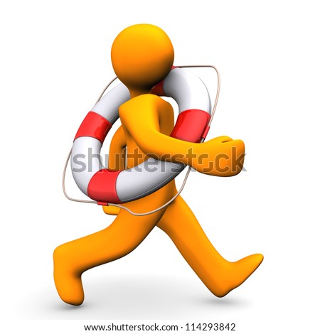 Orange cartoon character runs with lifebelt. White background. - stock photo