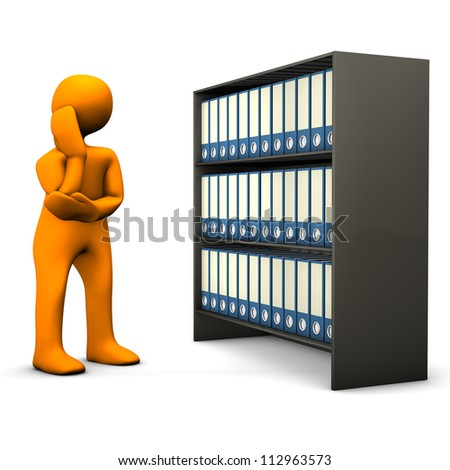 Orange cartoon character searches in a file cabinet and cogitates. White background.