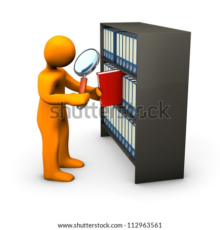 Orange cartoon character searches with the loupe in a red folder.