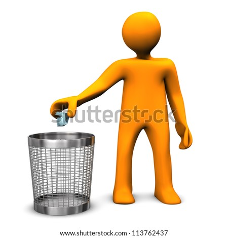 Orange cartoon character throws crumpled paper in the wastebasket.